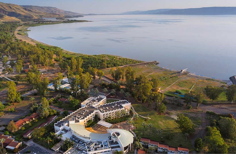 Aerial view of Kinar Galil Hotel with the Kinneret