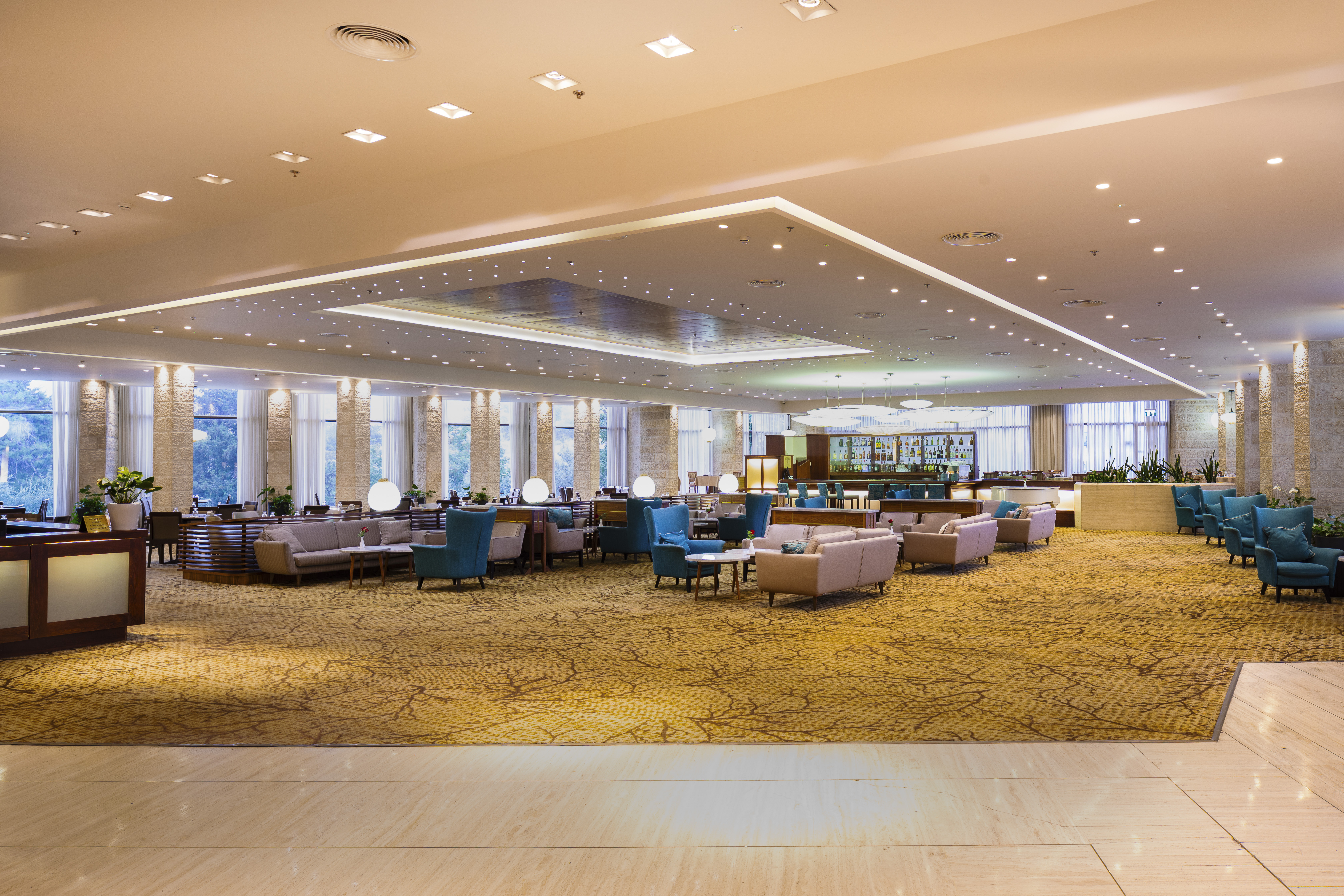 The large seating area in the lobby of the Ramada Hotel, Jerusalem