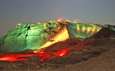 Masada at night