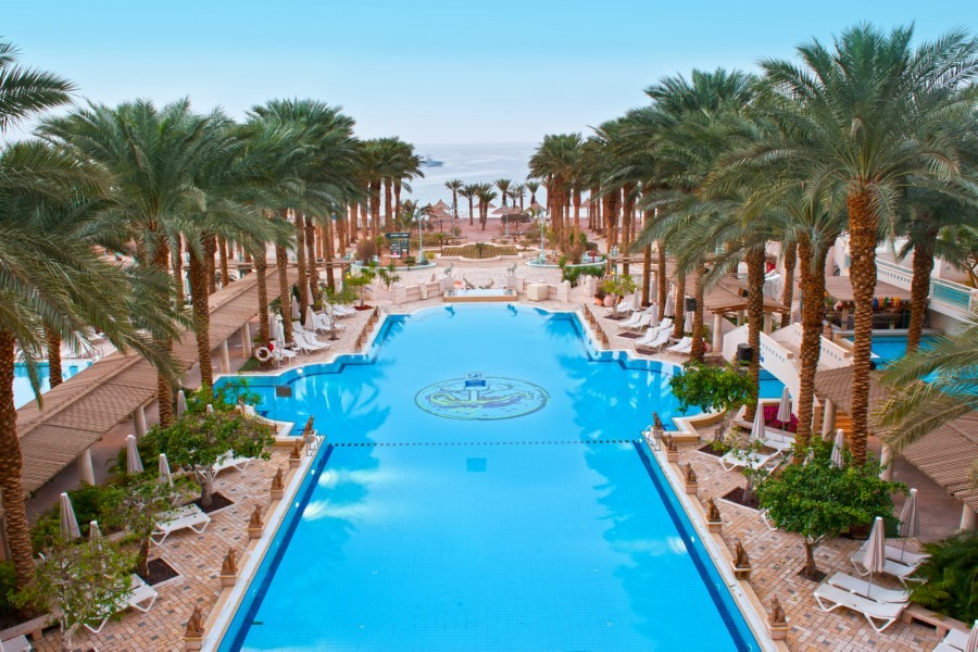 The beautiful, large pool at Herod's Palace Hotel, Eilat, seen from above
