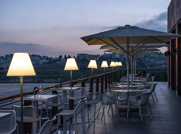 Cramim, restaurant balcony with view, at night